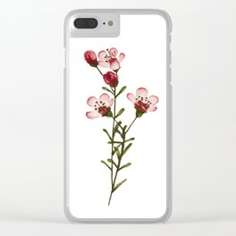 Pink Watercolor Flower Clear iPhone Case