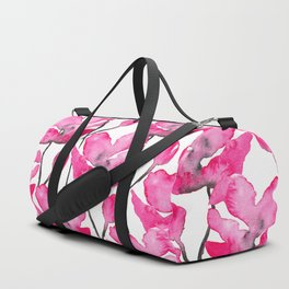 Modern neon pink floral watercolor black pattern Duffle Bag