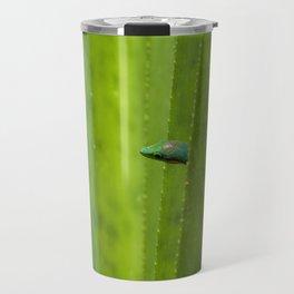 Peekaboo! A gecko in the agave Travel Mug