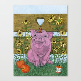Happy Little Piglet Canvas Print