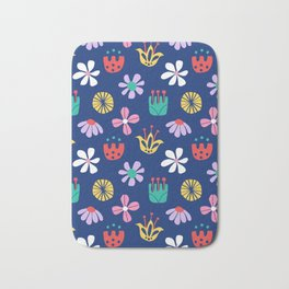Nordic Floral in Mod Rainbow + Navy Blue Bath Mat