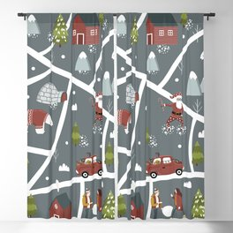 Illustrated Christmas Map Cozy Nordic Style Blackout Curtain