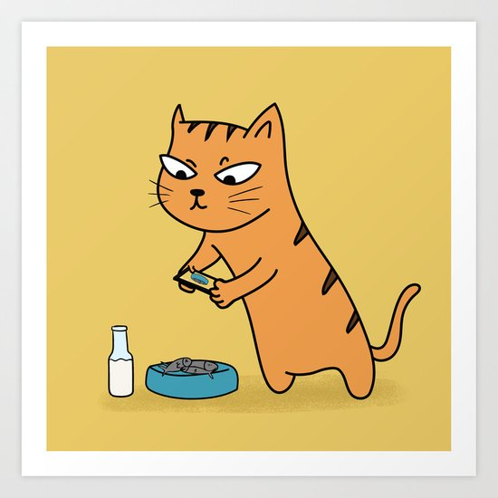 Foodie Cat Art Print