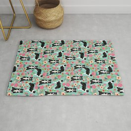 border collie cute florals mint pink black and white dog gifts for dog lover Rug