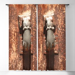 Antique wooden door with hand knockers Blackout Curtain