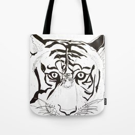 Triptych Tiger Tote Bag