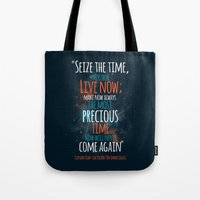 "picard Tote Bags featuring ""Live now; make now always the most precious time. Now will never come again"" Captain Picard by Elizabeth Cakovan"
