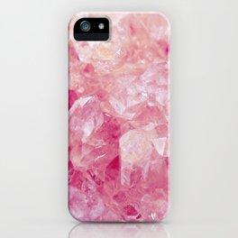 Pink Rose Quartz Crystals iPhone Case