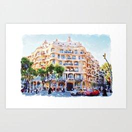 La Pedrera Barcelona Art Print
