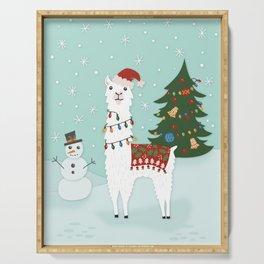 Santa Llama with Christmas Tree Serving Tray