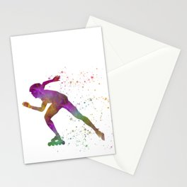 Roller skating in watercolor 04 Stationery Cards