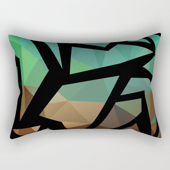 Abstract background of triangles polygon print. Bright dark design colors Rectangular Pillow