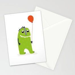 Happy green monster Stationery Cards