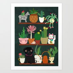 Cacti and Pug on blackboard Art Print