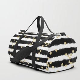 Modern black watercolor stripes chic gold confetti Duffle Bag