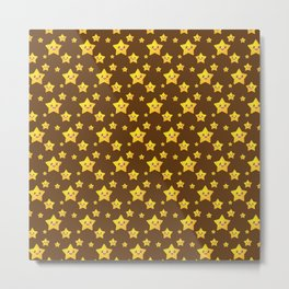 Cute Yellow Stars in Brown BG Metal Print