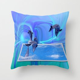 Leaping Dolphins Throw Pillow