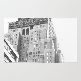 New Yorker Sign - NYC Black and White Rug