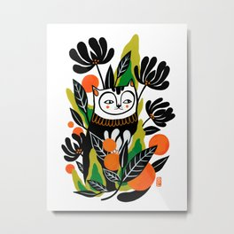 Mossy Cat Metal Print