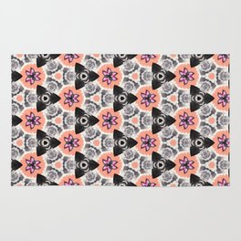 Handmade Pink and Black Kaleidoscope Pattern Rug