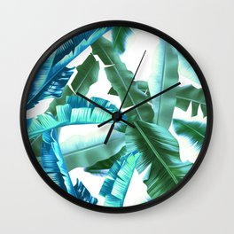 tropical banana leaves pattern turquoise Wall Clock