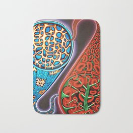 Yin and Yang with Bone Cells and Red Blood Cells Bath Mat