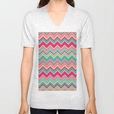 Aztec chevron pattern- pink & cream Unisex V-Neck