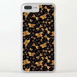 Luxe Copper Gold on Black Butterflies Clear iPhone Case