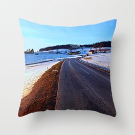 Country road through winter wonderland III | landscape photography Throw Pillow