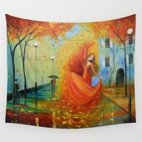 boston Wall Tapestries featuring Waltz Boston by OLHADARCHUK