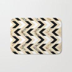 Black, White & Gold Glitter Herringbone Chevron on Nude Cream Bath Mat