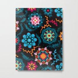 Suzani Inspired Pattern on Black Metal Print
