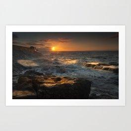 Sunrise at Porthcawl lighthouse, South Wales, UK. Art Print
