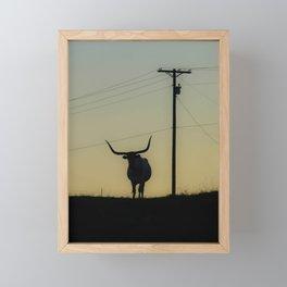 Longhorn at Sunset Framed Mini Art Print