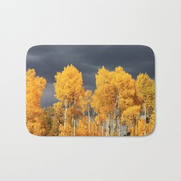 Golden Aspens and an Impending Storm Bath Mat