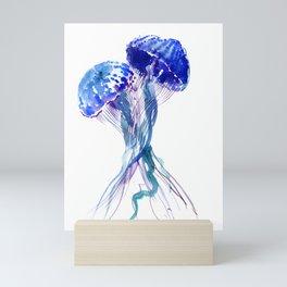 Jellyfish, Aqua Blue Marine Beach Art Mini Art Print