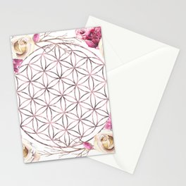 Flower of Life Rose Gold Garden Stationery Cards