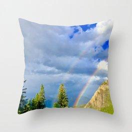 Canadian Rocky Rainbow Throw Pillow
