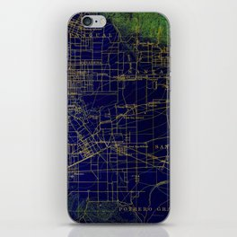 Pasadena antique map year 1896, blue and green artwork iPhone Skin
