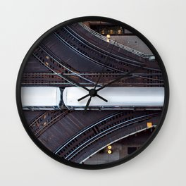 Chicago El Train Going Downtown Wall Clock