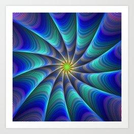 Peacock Feathered-Inspired Spiral Fractal Art Art Print