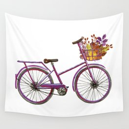Watercolor bicycle print Wall Tapestry