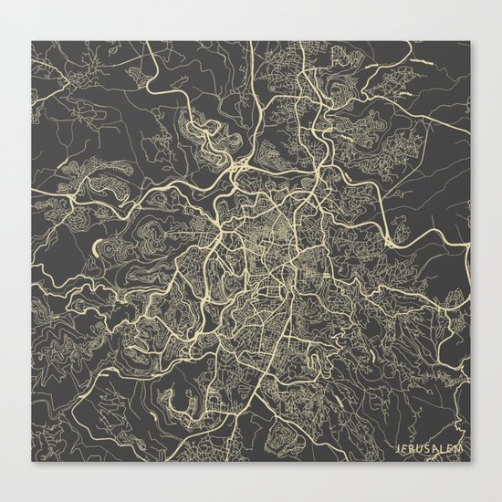 Jerusalem Map Canvas Print