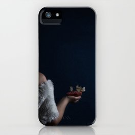 Woman with pomegranate and butterflies iPhone Case