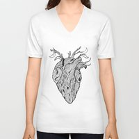 wooden V-neck T-shirts featuring Wooden Heart by tvfer