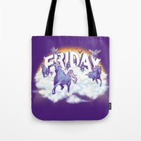 friday Tote Bags featuring Friday! by littleclyde