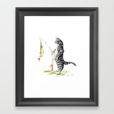 Cat with a Fish Framed Art Print