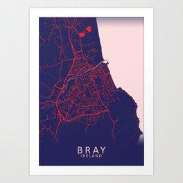 Bray, Ireland, Blue, White, City, Map Art Print
