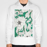 peonies Hoodies featuring green peonies by Marcella Wylie