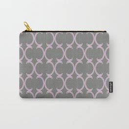 Pink Moroccan Lattice on Gray Carry-All Pouch